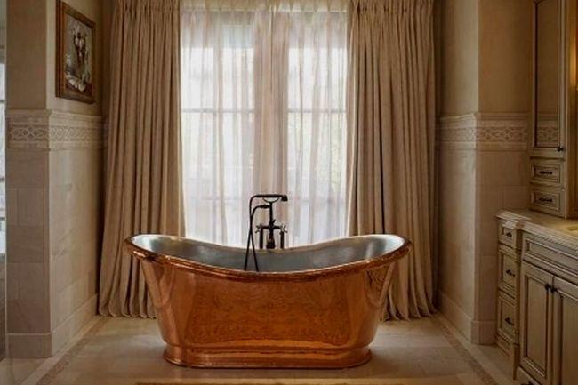 Copper Tub For Mediterranean Bathroom